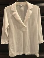 Womens Cabi Shirt size SMALL - White Lightweight 3/4 Length Sleeves w/ Collar
