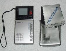 1985 Sony Watchman Model FD-20A Flat Screen Black & White TV w/ Case
