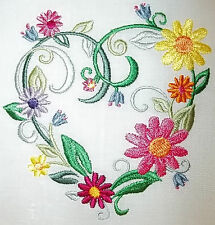 """Embroidered Quilt Block Panel """"Heart in Bloom"""" Pure Irish Linen Ivory Fabric"""