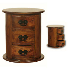 Golant Rosewood Small Drum Chest / 3 Drawer Round Dark Wood Chest / Solid Wood
