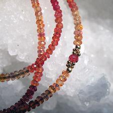 zarte orange und rote padparadscha  saphir kette  585+416er gold