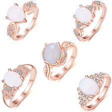 Wholesale 5 Pcs 1 Lot Mixed Rainbow Fire Moonstone Rose Gold Plated Rings Set