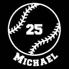 Custom Vinyl Baseball with Name and Number Car Window Decal / Sticker