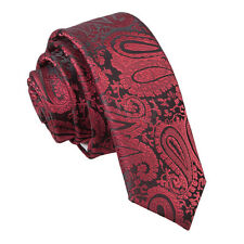 Burgundy Mens Skinny Tie Woven Floral Paisley Formal Wedding Necktie by DQT