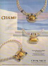 """Publicité Advertising 1984  CHAUMET bijou collier bague """"Les Pierres d'Or"""""""