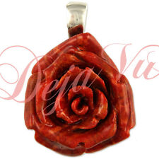 RHODIUM PLATED STERLING SILVER 925 SPONGE CORAL RED FLOWER ROSE PENDANT