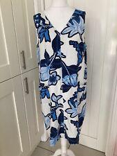 Next Linen Sleeveless Abstract Floral Shift Dress - Size 18 Tall
