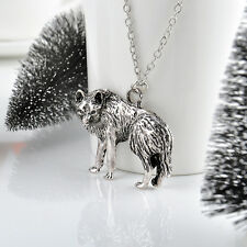 Vintage Retro Wolf Long Chain Charm Necklace Pendant Jewelry Silver one hs0