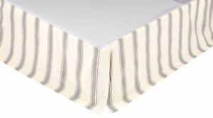 Queen Bed Skirt Nickel Gray & Tan Grain Sack Ticking Stripe Flat Panel Grace
