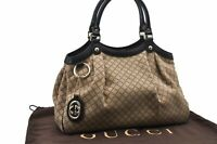 Authentic GUCCI Diamante Sukey Tote Bag GG Canvas Leather Brown 73258