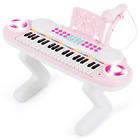 Piano Electronique 37Touches Enfant Jeu Educatif Portable Lumiere Rythmique Rose