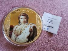 Medaille Farbdruck Napoleon 1er 100 mm 2016 Bonaparte Münze Kupfer Vergoldet