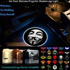 2x 3D V for Vendetta Mask Logo Wireless Car Door Projector Shadow CREE LED Light