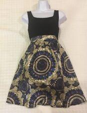 Pixie Cream And Black Paisley Sleeveless  Side Pockets Zip Dress Large