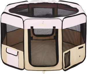 Zampa Portable Foldable Pet playpen Exercise Kennel Carrying Case Water Resist