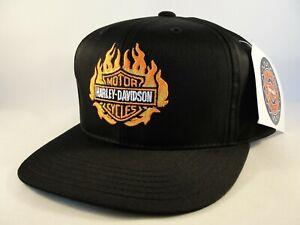 Kids Youth Size Harley Davidson Flame Logo Vintage Snapback Hat Cap Black Annco