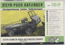 1961 Steyr Puch Haflinger 700AP Jeep Truck Brochure Poster German ww4692