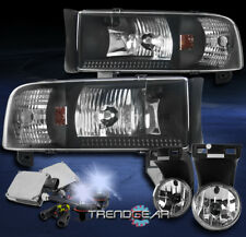 1994-2001 DODGE RAM BLACK CRYSTAL HEADLIGHT W/CHROME DRIVING FOG LIGHT+8000K HID