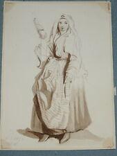 Ecole ITALIENNE XIX DESSIN LAVIS SEPIA PORTRAIT FEMME ITALIE ROME NAPLES 1872 b