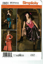 SIMPLICITY PATTERN 2851 MISSES SALOON GIRL COSTUME SIZE HH (6-12)