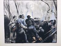 Bataille Navale 1916 Marine Française Dardanelles Rare Lithographie Fouqueray