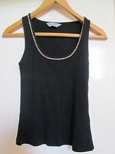 Black Ribbed D Perkins Silver Bead Trim Stretch Vest Top in Size 12