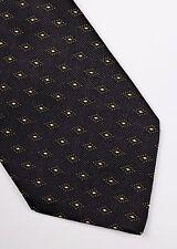 Ermenegildo Zegna Corbata Seda Tejida De Oro Negro Abstracto Diseñador Hombres