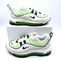 Nike Womens Air Max 98 Running Shoes White Green AH6799-115 Low Top Laces 5 New