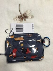 Vera Bradley Holiday Dogs Gray RFID Petite Zip Around Wallet 2021 Collection X62