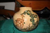 Antique Pottery Bowl Vase Signed Symbols Hand Painted Deer Trees Dated