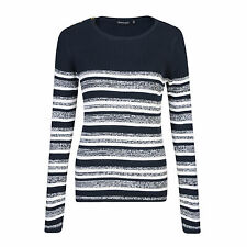 Ladies Jumper All Over Ribbed Striped Marl Mix Brave Soul UK 10-16 Lexy 12 Navy