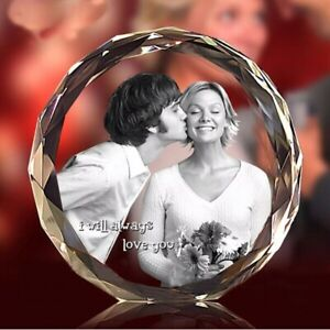 Custom Photo Frame Personalized Laser Etched Crystal Glass Birthday Wedding Gift
