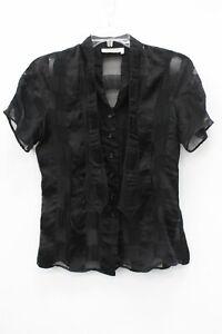 Yves Saint Laurent Rive Gauche Black Silk Squared Short Sleeve Blouse Size 40