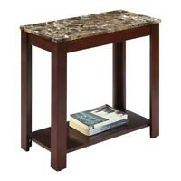 """ORE International 24"""" Modern Wood End Table with Marble Print Top in Dark Cherry"""