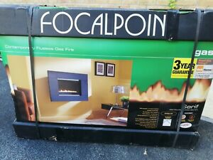 Focal point flueless gas fire black granite surround - new and boxed