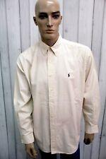 RALPH LAUREN Camicia Taglia 2XL Beige Cotone Uomo Shirt Casual Manica Lunga