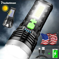 10000LM USB/Solar Charging Flashlight Torch with COB Side Light Built-in Battery