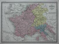 EMPIRE OF FRANCE & ITALY 1812-15, original antique map, Malte-Brun, c.1882