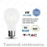 Lampadina led V-TAC 6W E27 VT-1935 A60 frost bianca filamento lampada opaca bulb