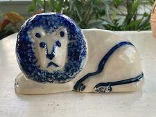 Eldreth Pottery Lion 1990 Stoneware Blue Glaze Pennsylvania Pottery