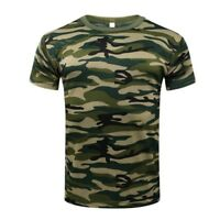 M-3XL Men Short Sleeve Camo T-Shirt Quick Drying Arm Outdoor Breathable Clothes
