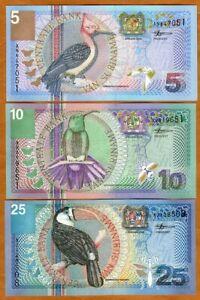 SET Suriname, 5;10;25 Gulden, 2000, P-146-147-148 UNC > Birds, Flowers