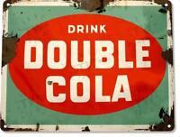 Double Cola Retro Soda Rustic Tin Metal Decor Sign