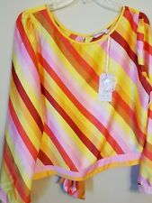 Traffic People Long sleeve Top,Striped Red,Yellow, Orange,Pink  XL Open back New