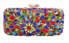 Anthony David - Multi-Colored Red & Blue Crystal Jewel Evening Bag