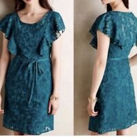 Moulinette Soeurs Anthropologie Teal Scrollwork Dress Flutter Ruffle Size 4