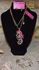 3 PC BETSEY JOHNSON GORGEOUS CRYSTAL SEAHORSE NECKLACE EARRINGS REAL SHELL BRAC