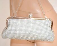 BOLSO plata CLUTCH bag mujer elegante strass ceremonia matrimonio fiesta sac 400