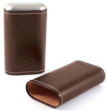 XIKAR Triple Cigar Tube Round Leather Case Cedar Lined Cognac Brown Envoy 243CN