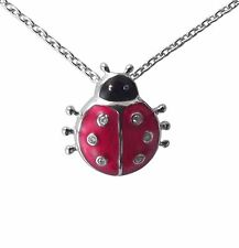 Amulett Halskette Glücksbringer Marienkäfer 925 Silber Diamanten anhfe21